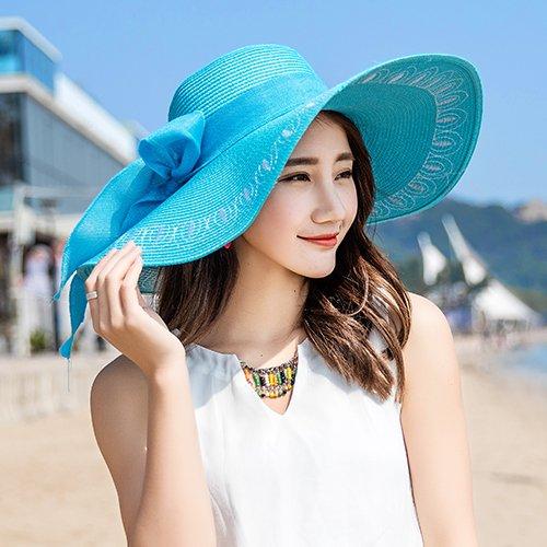 Hatrita-J Beach Beach Embroidered Straw Hat Large Brimmed Hat Foldable Sun Hat Sun Protection Tour Summer Female Donkey Sun Hat - Hat Purple Donkey