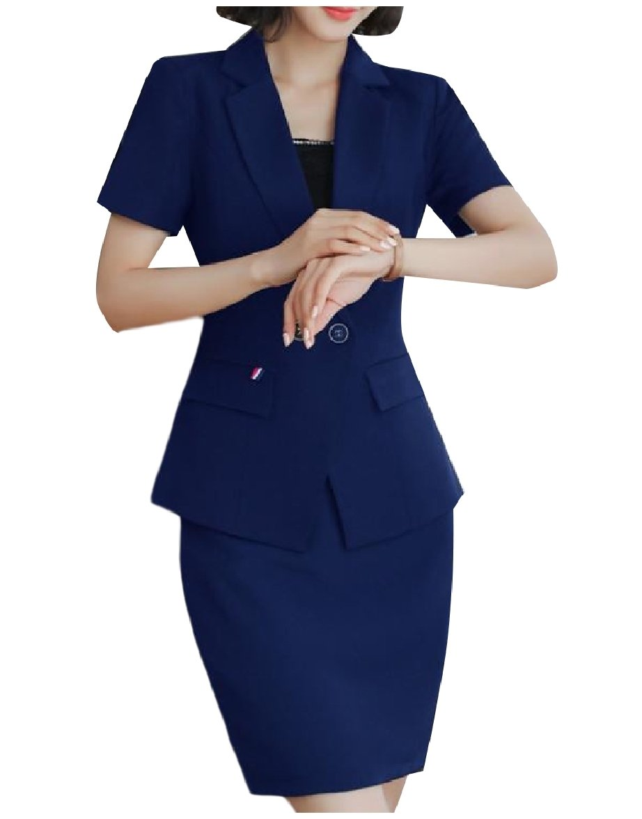 Zimaes-Women Trim-Fit Solid-Colored Blazer and High Waisted Skirt Set Blue S