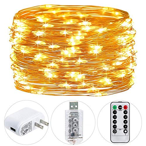 HSicily Fairy Lights Plug in, 8 Modes 33ft 100 LED USB String Lights with Adapter Remote Timer Waterproof Decorative Lights for Bedroom Patio Christmas Wedding Party Dorm Indoor Outdoor]()