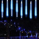 icicle lights blue - Meteor Shower Rain Lights, Kany LED Icicle Snow Falling Raindrop Waterproof Decorative Lights for Wedding Party Garden 30cm 8 Tubes 144 leds