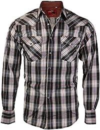 Men's Western Cowboy Pearl Snap Long Sleeve Plaid Shirt