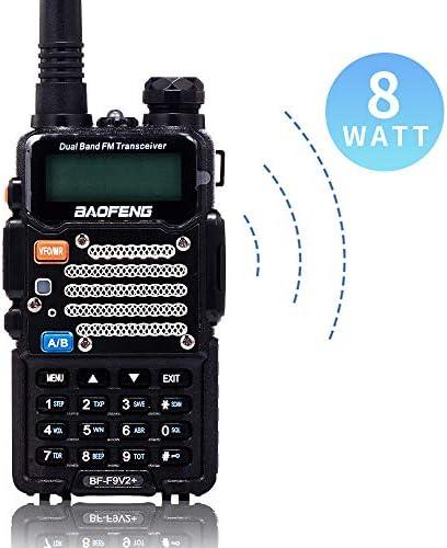 BaoFeng Two Way Radio,8-Watt Dual Band Radio with LED Display,Portable Walkie Talkies Includes 2100mAh Large Battery ,BF-F9V2 Black, 1Pack