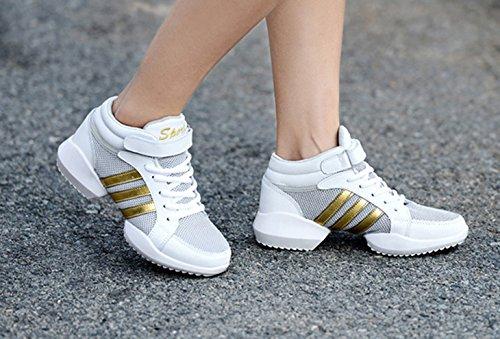 Jazz Gymnastik Turnschuhe up Farbe Athletische Modernen Aerobic Haken Schuhe Schuhe und Mesh Dance Schwarz Lace Weiß Trainings Loop VECJUNIA Damen 5WOxFnfZZ