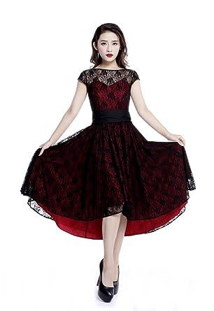 Plus Size Red & Black Gothic Retro Hi Lo Lace Short Sleeve ...