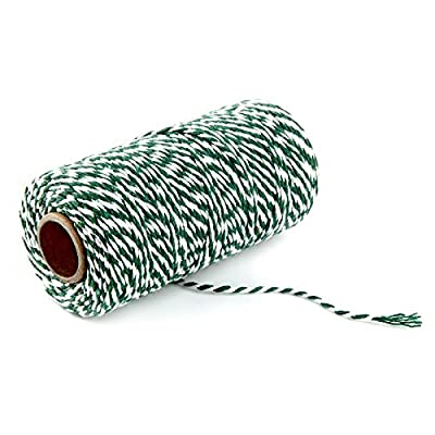 328 Feet Green & White Christmas Gift Twine Cotton Crafts Bakers Twine Durable String : Office Products