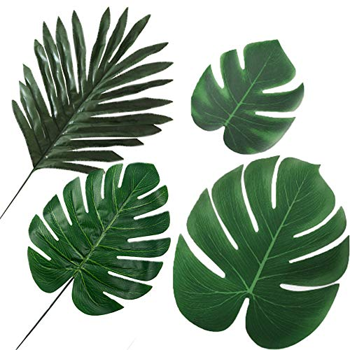 IcosaMro Palm Leaves Decorations 40Pcs Artificial Fake Tropical Palm Monstera Tree Jungle Green Leaves Set, Baby Shower Wedding Birthday Party Decorations -