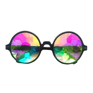 VBIGER Femmes Lunettes de soleil kaléidoscope chic arc-en-ciel prisme lunettes de soleil rondes élégantes lunettes pour Festival, Dance Party et Concert