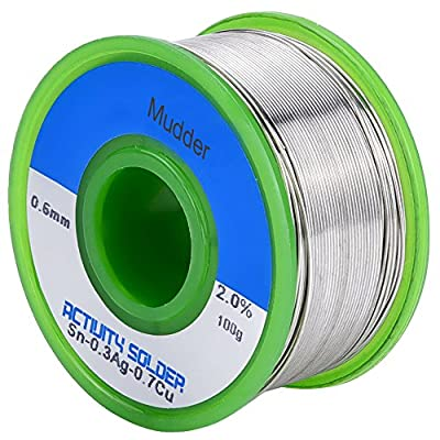 Mudder Lead Free Solder Wire Sn99 Ag0.3 Cu0.7 with Rosin Core for Electrical Soldering 100g