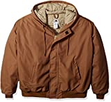 Bulwark Men's Big Hooded Jacket with Knit Trim, Brown Duck, Large/Tall