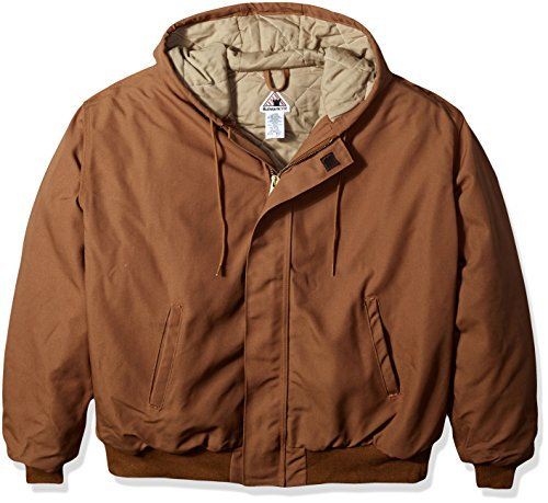 Trim Knit Jacket (Bulwark Men's Big Hooded Jacket with Knit Trim, Brown Duck, Large/Tall)