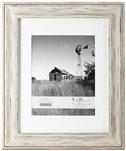 Malden International Designs Whitman White Wash Matted Wood Picture Frame, 8x10/11x14, - Frame White Vintage