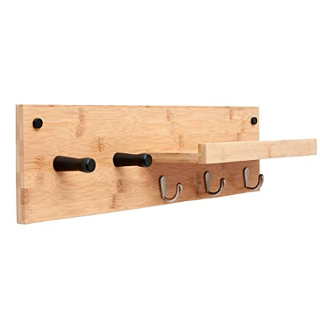 Amazon.com: Perchero de pared de madera gruesa ...