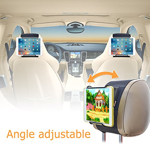 Car Headrest Mount Holder TFY Universal Car Headrest Mount Holder with Angle Adjustable Holding Clamp for 6-12.9 Inch Tablets - 2 Pieces
