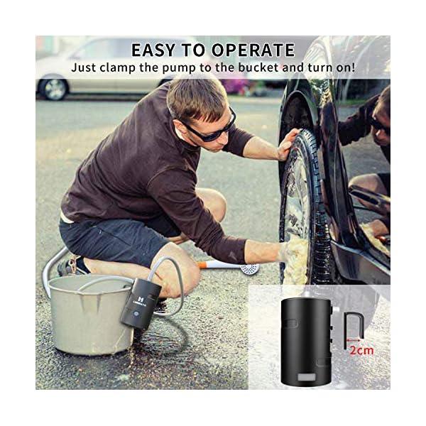51hMNXZ0yPL LIEBMAYA 12V Tragbare Außendusche, Outdoor Dusche, Campingdusche mit 4400mAh Akku USB Ladung Angetriebene Duschpumpe für…