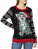 ugly christmas sweater women's light-up cat wrapped up in lights, black, xl