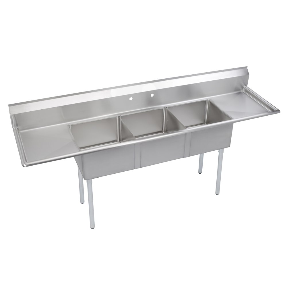 Elkay SE3C18X18-2-18X Stainless Steel Super Economy Sink with 3 Compartments and 18'' Left/Right Drainboards, 90'' Length x 23-11/16'' Width 43-51/64'' Height
