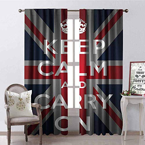 (GloriaJohnson Union Jack Wear-Resistant Color Curtain Keep Calm and Cary On Quote Crown Figure United Kingdom Britain Flag Waterproof Fabric W52 x L54 Inch Navy Blue Red White)