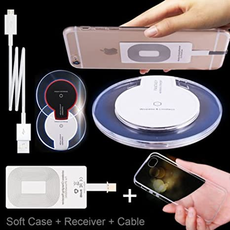 5V QI Wireless Phone Charging Pad Receiver kit Coil Ultra Thin USB for iPhone  Black