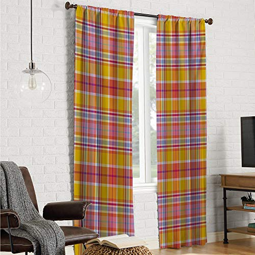 Madras Pink Panel - Patio Door Curtain Panel Bedroom Curtains Abstract,Madras Style Tartan Motif with Vivid Tone Bands Celtic Old Design,Marigold Pink Earth Yellow W96 x L108 Inch