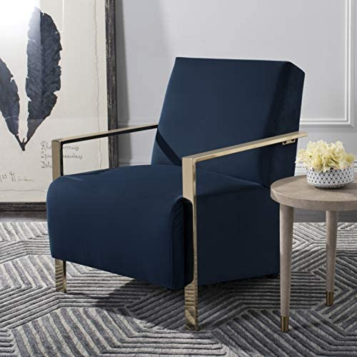 Deal of the week: Safavieh Home Orna Glam Navy Velvet and Brass Accent Chair