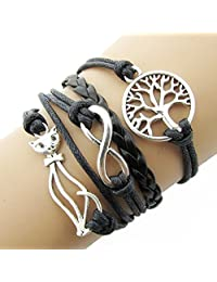 T'aimer Silver Tone Tree Of Life Infinity Cat 3 Layer Wrap Suede Black Leather Rope Bracelet