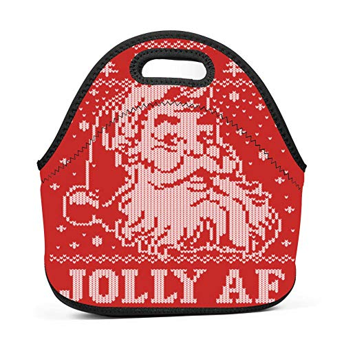 YDYFCA Santa Jolly AF Ugly Christmas Sweater Funny Boys Girls Insulated Neoprene Lunch Bag Tote Handbag Lunchbox Food Container Gourmet Tote Cooler Warm Pouch for School Work Office