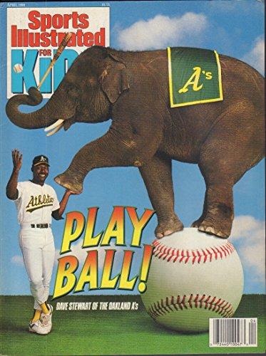 Sports illustrated For Kids April 1990 with 9 mint cards Eric Davis, J.R. Reid, Mike Scott
