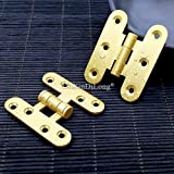 10PCS/LOT Brass Furniture Hinges Cupboard Wardrobe Drawer Cabinet Smoothly and Mute Door Hinges Furniture Hardware - (Color: D)