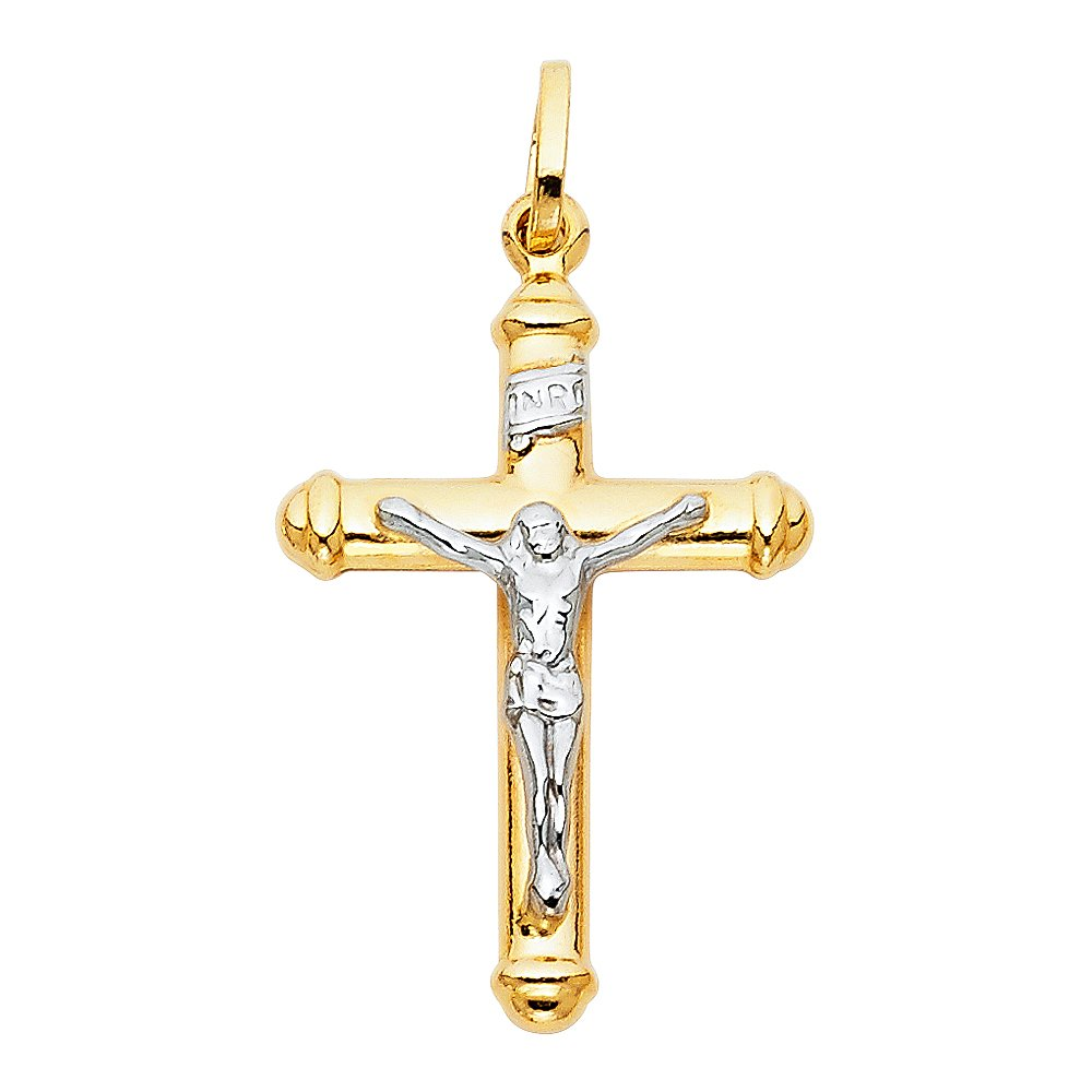 20 X 35mm Million Charms 14K Two-tone Gold Religious Hollow Crucifix Big