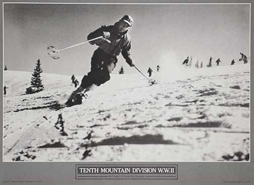 Alpine Skiing In Training At Cooper Hill, Colorado 10th Mountain Division Ski Poster, Size 16 x 22 inches