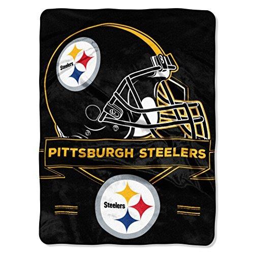 Northwest 0807 NFL Pittsburgh Steelers Prestige Plush Raschel Blanket, 60'' x 80'', Black by Northwest