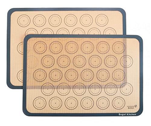 Bugui Non-Stick Silicone Baking Mats, 2 Pack, Half Sheet Size (11.6