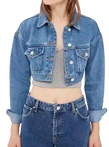 Fensajomon Womens Casual Button Down Crop Top Washed Jean Jackets Blue M by Fensajomon