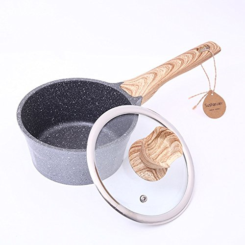 Price comparison product image Maifan Stone Non-stick Milk Pot No Fumes Coating Saucepans With Glass Cover,  Wooden Handle Induction Cooker Universal