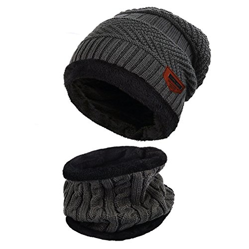Mujer Aibrou forro Unisex Beanie Hombre 2pcs caliente invierno Gargantilla con punto polar Hat Sombrero Bufanda Gris Forro de qxnP44p