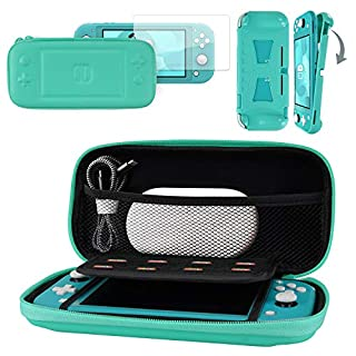 CoBak Carrying Case for Nintendo Switch Lite - with 1 Screen Protector and 1 Grip Case, Ultra Slim Premium EVA Travel Pouch Protective Cover, 8 Game Cartridges, Green