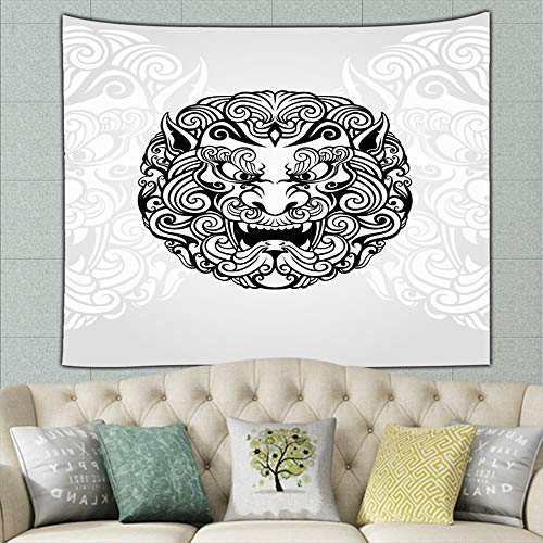 wrtgerht Foo Dog White Abstract Tapestry Bohemian Tapestry Hippie Tapestry Bedroom Living Room Dorm Art Wall Hanging 50ʺ × 60ʺ