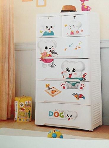 Kommode Kinder, Weiß mit Zeichnungen für die Zimmer Ihres Babys aus Polypropylen, 4Schubladen Große und 2kleine Schubladen, cajonera. Möbelstück