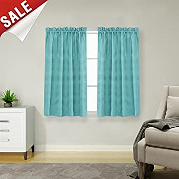 Amazon Com Waffle Woven Textured Short Curtains For
