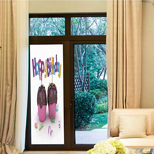 YOLIYANA Non-Toxic Window Film,Birthday Decorations,for Indoor & Outdoor Window,3D Illustration of Chocolate Covered Cupcakes with - Chocolate Heart Cakes Covered