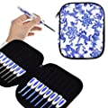KOKNIT 16 PCS Ergonomic Crochet Hooks Set with Luxurious Case,Blue and White Porcelain Knitting Needles Plastic Handle Grip DIY Craft Weaving Tool All Size