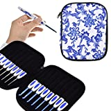 KOKNIT 16 PCS Ergonomic Crochet Hooks Set with Luxurious Case,Blue and White Porcelain Knitting Needles Plastic Handle Grip DIY Craft Weaving Tool All Size (Crochet Hooks Set with case)