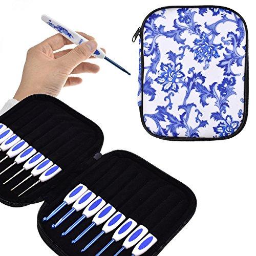 KOKNIT 16 PCS Ergonomic Crochet Hooks Set with Luxurious Case,Blue and White Porcelain Knitting Needles Plastic Handle Grip DIY Craft Weaving Tool All Size (Crochet Hooks Set with case) by KOKNIT