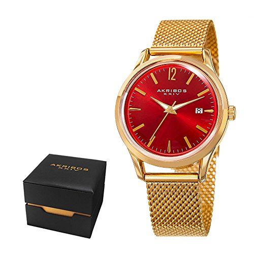 Akribos XXIV Women's Fashion Colorful Quartz Watch - Brick Red Sunburst Dial - Featuring a Gold Stainless Steel Bracelet - [ AKN930RD ] ()