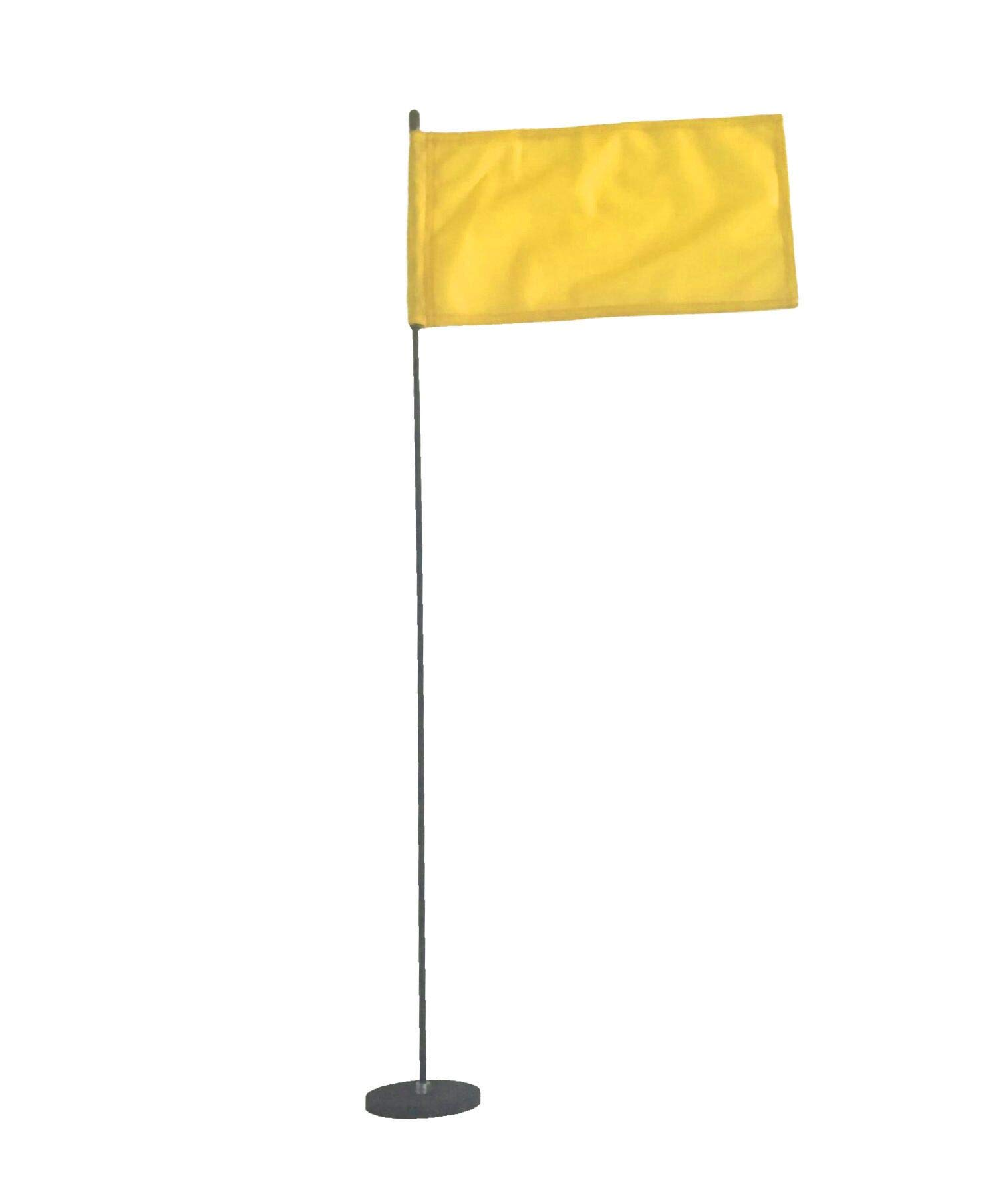 Magnetic Base Flag Holder 3 FT. Steel Pole - Hold Force 44 lbs. - 8 x 13 Yellow Flag