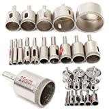Simply Silver - Glass Ceramic Marble - 15Pcs 6mm-50mm Diamond Tool Drill Bit Hole Saw Set for Glass Ceramic Marble Tile