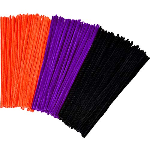 (Tatuo 300 Pieces Easter Chenille Stems 12 Inches by 6 mm Pipe Cleaners DIY Art Craft Supplies Decorations (Black, Orange and)