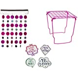 School Locker Decor/ Accessories Set - Locker Shelf, Magnetic Locker Curtain & Stylish Magnets