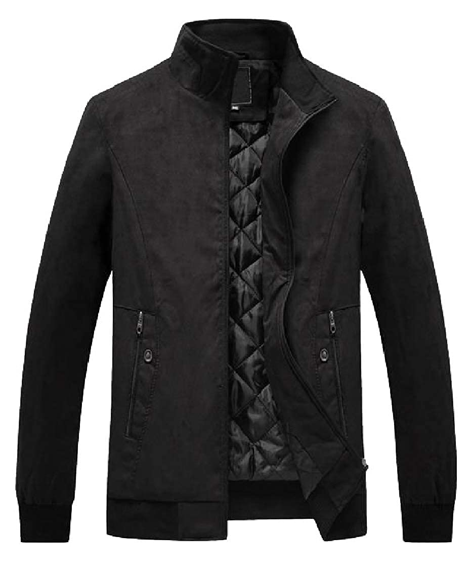 Sweatwater-CA Men Stand Collar Zipper Moto Biker Faux-Suede Plus Size Jacket Coat