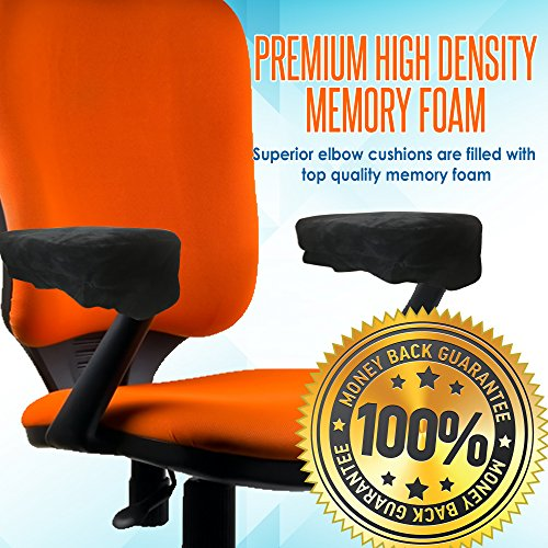 Memory Foam Arm Chair Pads for Home and Office - Perfect Density Cushions - Premium Quality - Washable Covers - Therapeutic Armrest Support - Extra Thick - Elbow & Relief - Universal Fit (Set of 2) by Grand House (Image #2)